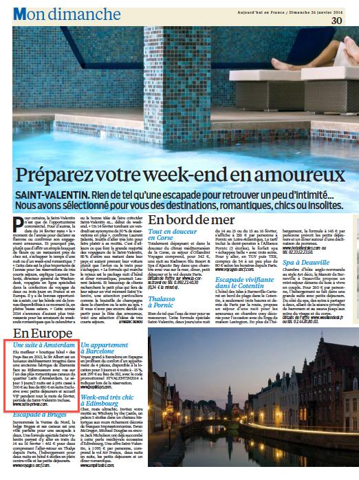 Article Suite-Privee.com spéciale Saint-Valentin Le Parisien dimanche 26 janvier 2014