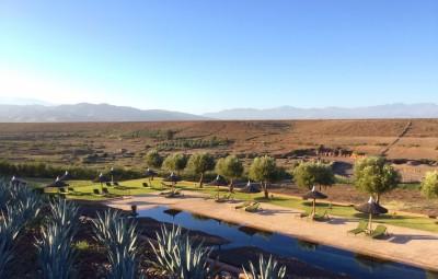 Le-Palais-Paysan-Marrakech-boutique-hotel-de-luxe-au-pied-des-montagnes-de-lAtlas-tôt-le-matin-sur-la-piscine